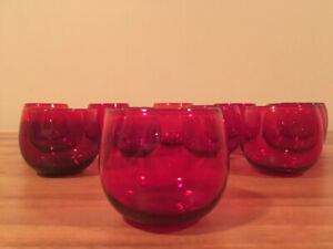 Set of Twelve Mid-Century Roly Poly Glasses - Cranberry Glass