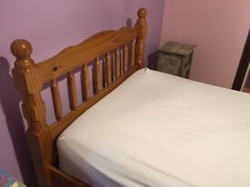 Pine single bed with storage drawers excellent condition