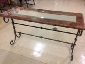 GLAS MARBLE IRON CONSOLE TABLE