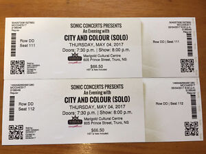 City and Colour - Truro NS - 2 tickets