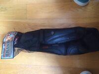 Mountain bike shin and knee pads.