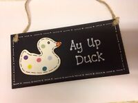 Stoke potters ay up duck handmade sign plaque Christmas gift