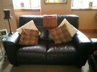 Brown leather suite, 2 seater and 2 chairs