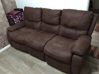 Suede 3+3 seater fully recliner sofa suite