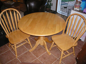 Solid wood (birch?) drop leaf kitchen table & chairs