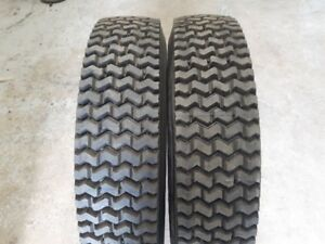 2 - NEW 225/75RX22.5 GOODYEAR MUD & SNOW RETREADS