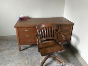 Oak desk and swivel chair