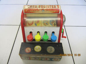 Vintage Classic Fisher Price Cash RegisterAll WoodCirca 1940-60s