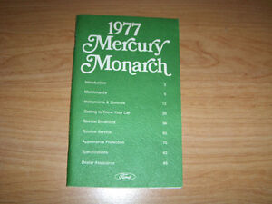 1977 FORD MERCURY MONARCH AUTOMOBILE OWNER'S MANUAL