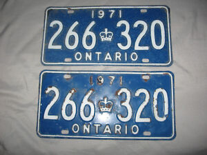 1971 Ontario number plates