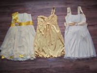 3 YELLOW DRESSES for sale (fit medium-large) selling for cost