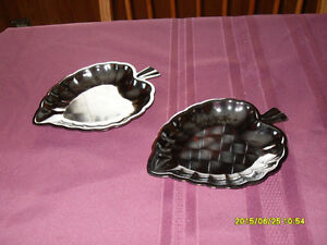 2  Leaf shaped sterling plated leaf dishes (New)