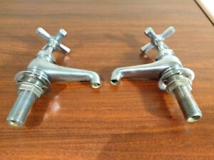 """Two Chrome Plated Brass Faucets (hot and cold) - 4"""" tall"""