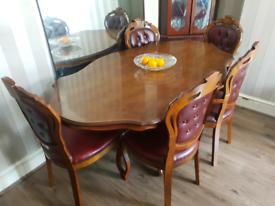 Italian mahogany dining table with 5 chairs