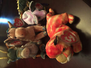 Zodiac Beanie Baby Dragon, Tiger, Horse And Rat
