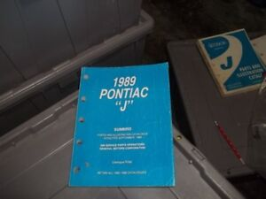 Parts& assembly manual Illustrated for Pontiac Sunbird 1989