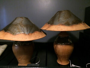 Leather wrapped lamps