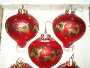 Antique RED REINDEER CHRISTMAS GLASS ORNAMENTS Hand Crafted
