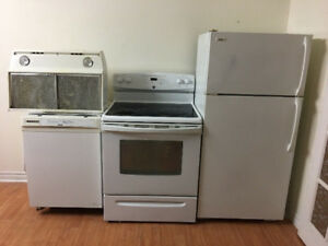 4 piece complete kitchen appliance set fridge stove dishwasher