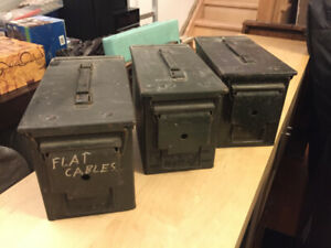 ►► 3 Vintage Green Metal Army Boxes