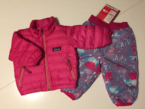 Baby Patagonia down sweater & North Face snow pants