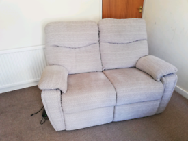 2 seater electric reclining sofa, beige fabric
