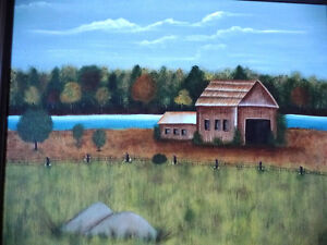 "Original Folk Art Oil Painting ""Autumn Farmland by the River"" Stratford Kitchener Area image 2"