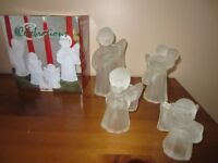 SET of 4 CAROLING ANGEL CANDLE HOLDERS