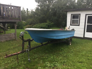 15 Foot Boat with 20 HP Johnson outboard motor and Tilt Trailer