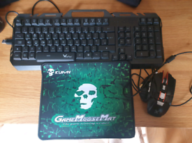 Gaming keyboard, mouse and mouse mat.