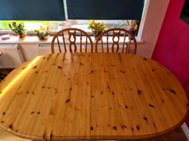 Extendable Wooden Dining Table & Chairs, (sits 8)
