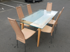 Glass Top Coffee Table and 6 Chairs
