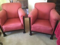 Small Antique Upholstered Fireside Armchairs x 2