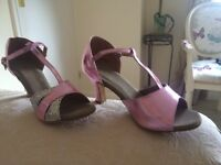 Ladies dance shoes with suede soles metallic pink and sparkly silver by Meiguan size38