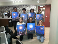 Why not organize a group activity at your location?  Paint Night