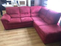 Large red fabric corner sofa---ONLY £240---delivery available---BARGAIN!!!