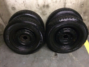 4 mounted snow tires 215/70/R15 on steel winer rims