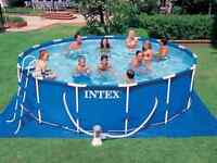 Pool with solar blanket, solar dome, and all accessories