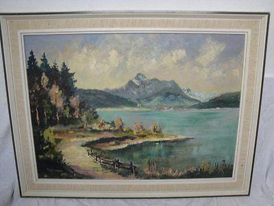 schönes Gemälde eines Sees in den Alpen signiert Pritscher . !
