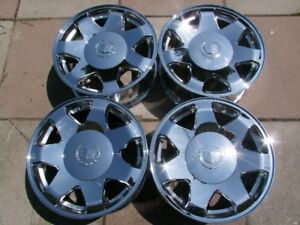 "4-LIKE NEW 17"" 6 STUDx5.5(139.7)GM TRUCK, CADILLAC CHROME ALLOYS"