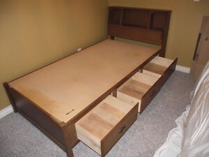 Single captains bed with headboard and three drawers