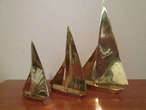 SET of 3 Hand crafted, Brass Sailboats