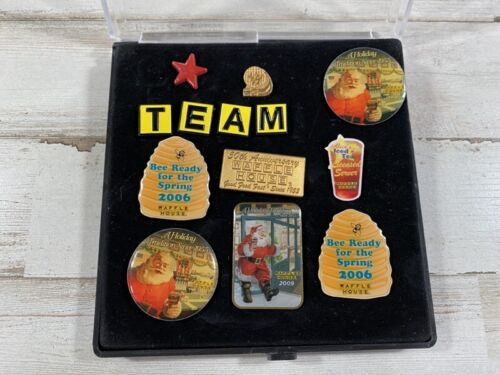 """13 Authentic Waffle House Lapel Pins - """"Team"""" & Christmas Pins - Free Shipping!"""
