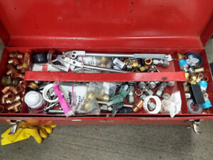 PLUMBERS TOOL BOX WITH TOOLS AND HARDWARE