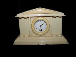 FRENCH IVORY MANTEL WIND-UP CLOCK by NEW HAVEN CLOCK,USA.