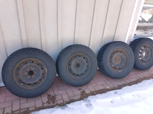 "17"" SNOWS TIRES, STEEL WHEELS, HUB CAPS AND TPMS FOR FORD F150"