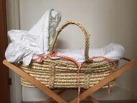 Mamas and papas Moses basket, mattress and stand
