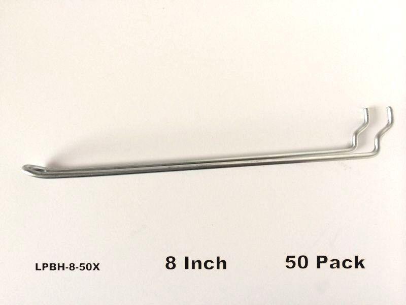 (50 PACK) 8 Inch Looped Metal Peg Hooks w/Elevated Tip. Fits 1/8 & 1/4 Pegboard