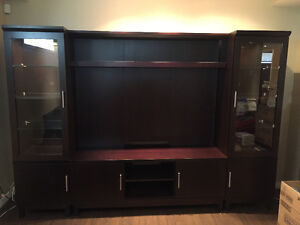 Entertainment unit with lights - chocolate brown