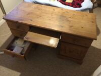 Pine computer desk with keyboard tray, side draws